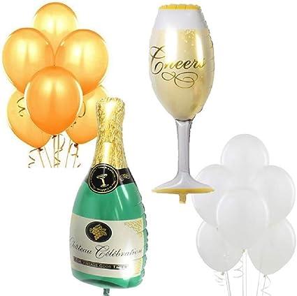 Amazon.com: XL Copa de vino y globos de color champaña ...