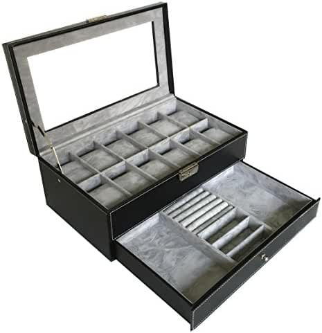 Sodynee PU Leather Glass Top Watch Box with Jewelry tray - Black
