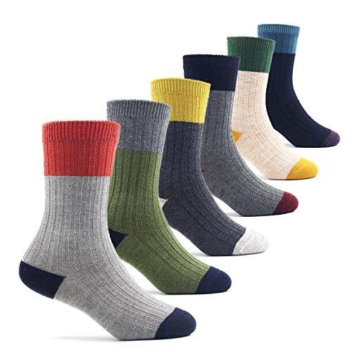 Big Boys Thick Wool Socks Kids Crew Seamless Winter Warm Socks 6 Pack 10-13 ()