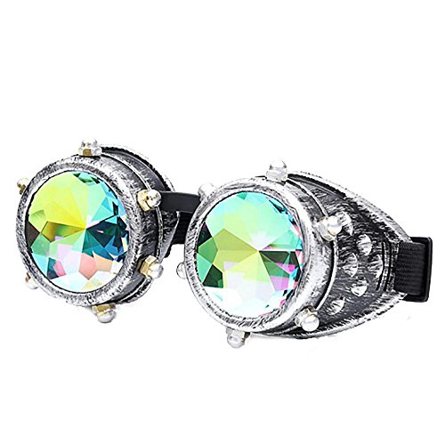 FTXJ Retro Steampunk Goggles Welding Punk Glasses Cosplay (Silver (Colorful Lens))]()