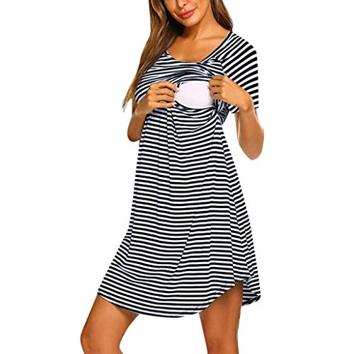 RAINED-Maternity Short Sleeve Stripe Nursing Dress Nursing Nightgown Double Layered Sleep Dress for Breastfeeding S-XXL