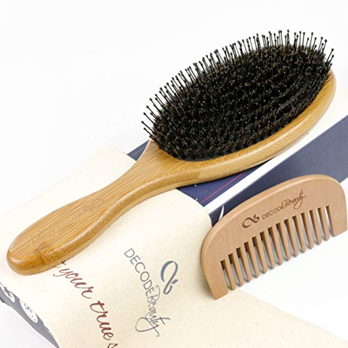 Boar Bristle Hair Brush Set-Large Bamboo Paddle Hairbrush and Comb-Natural Boars Hair Mixed with Nylon Pins to Add Shine and Detangle -Ideal for Thin to Thick Hair-Essential for Women Men Girl Kids