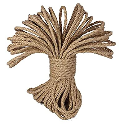 Natural Jute Twine Hemp Rope (1/4 in x 164 ft) Best Arts Crafts Gift Twine Christmas Twine Industrial Packing Materials Durable String for Gardening Applications.: Home Improvement