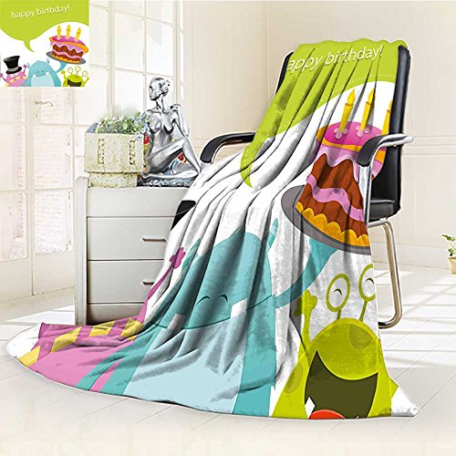 YOYI-HOME Throw Microfiber Duplex Printed Blanket Funny Smiling Monsters Saying Happy Birthday Cake Kids Room Multicolor Anti-Static,2 Ply Thick,Hypoallergenic/W59 x -
