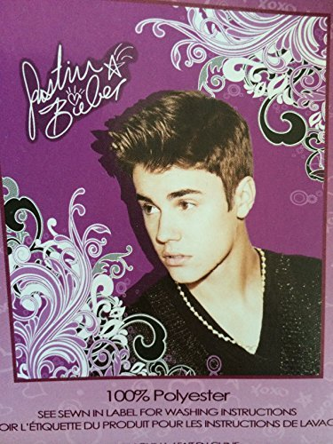 Justin Beiber Fleece 50x60 Throw Blanket - Scrolly Design by Lady Sandra