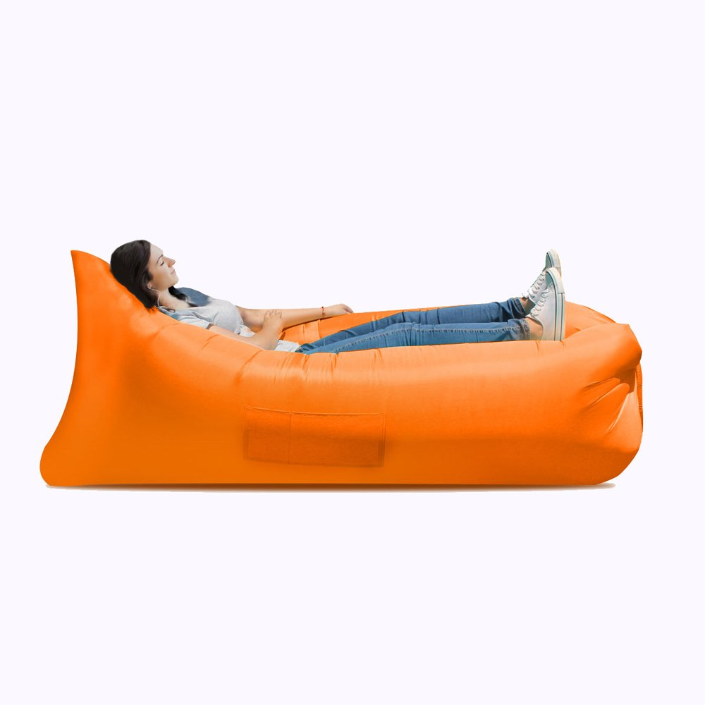 Inflatable bed Inflatable sofa bed, inflatable bed, portable waterproof leakproof sofa bed, travel goods, camping supplies, beach travel camping picnic chaise longue sofa bed ( Color : Orange ) by JYKJ