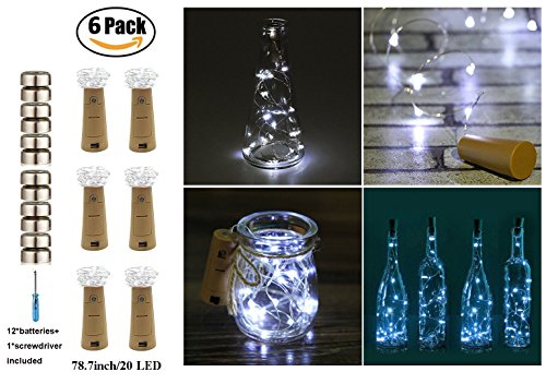 20-LEDS 6 Pack Bottle Lights-ANTTAA Cork Lights with Screwdriver Pro Spark I Cork Shaped Battery Strip Light Rope Lamp For Christmas Tree Decoration Holiday Party Wedding Concert Festival (White) (Christmas Light Tree Micro)