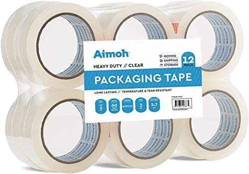 12 Rolls Heavy Duty Clear Packing Tape -Acrylic Adhesive- 2.7mil Super Strong Commercial Grade- Size 1.88 x 60 Yard- 3 Inch Core- Refill – Moving-Packaging-Shipping – 12 Rolls (11632)