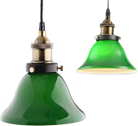 Green Glass Hanging Light Creative Industrial Edison Vintage Style Home Lighting Restaurant Bedroom Living Room Retro Emerald Green Glass Pendant