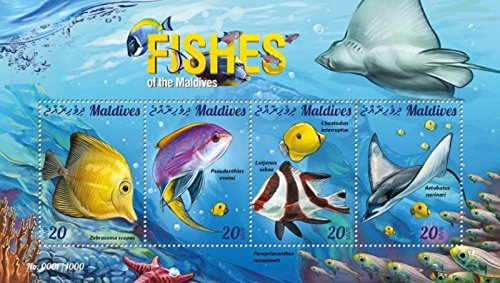 Withdrew 03-18-19-Maldives - 2015 Fish on Stamps - 4 Stamp Sheet - 13E-399