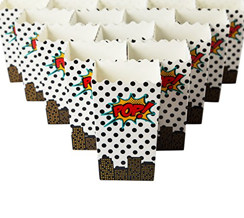 Set of 100 Popcorn Favor Boxes - Carnival Parties Mini Paper Popcorn Containers, Candy Popcorn Party Supplies for Movie Nights, Birthdays, Baby Shower, Comic Superhero Design - 3.3 x 5.5 x 3.3 (Party Popcorn)