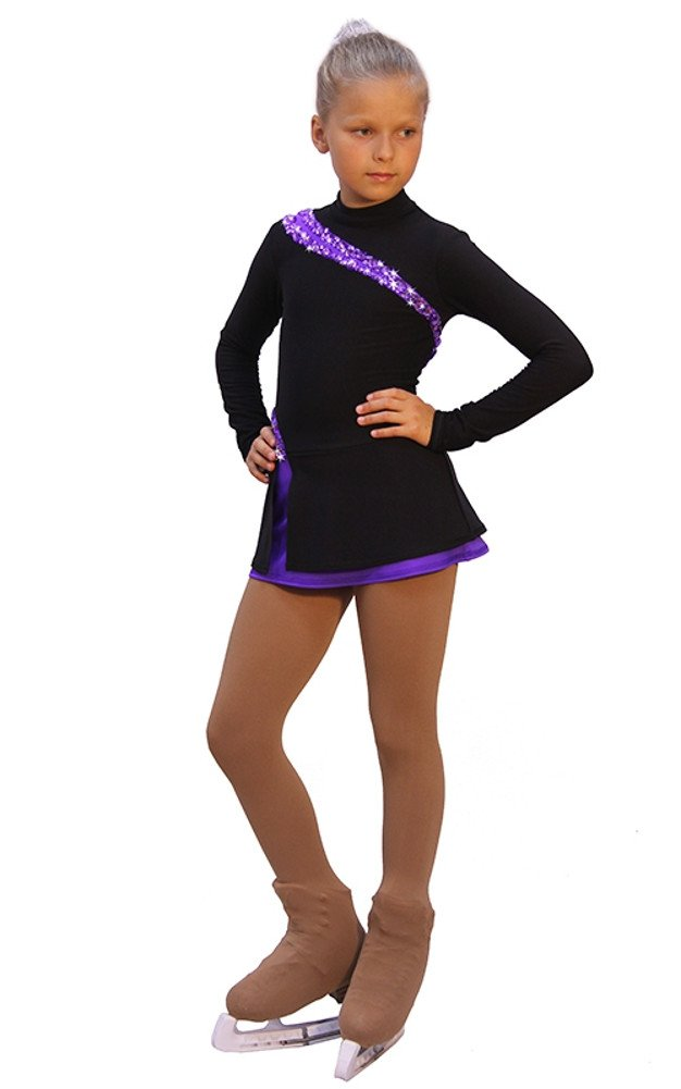 IceDress - Figure Skating Dress - Lasso(Black with Purple (CS)
