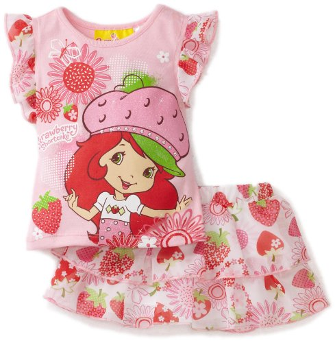 Strawberry Shortcake Baby Girls' Strawberry Printed 2 Piece Skooter Set, Pink, 24 Months