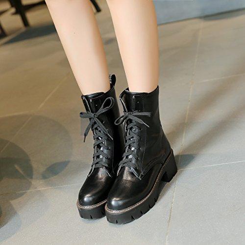 2c8aac9f01ceb0 ... YE Damen Blockabsatz Ankle Boots Plateau Stiefeletten mit Schnürung und  Blumenmuster 5cm Absatz Elegant Modern Schuhe