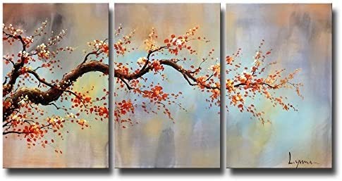 "ARTLAND Modern 100 Hand Painted Flower Oil Painting on Canvas""Orange Plum Blossom"" 3-Piece Gallery-Wrapped Framed Wall Art Ready to Hang"