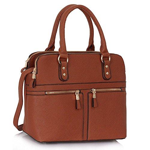 Ladies Women's Fashion Designer Celebrity Tote Bag Faux Leather Handbags Brown