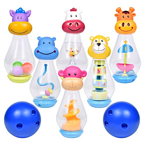Bowling Set for Toddlers with 6 Animal Head Bowling Pins and 2 Bowling Balls, Outdoor Toys for Toddlers, Bowling Game for Kids