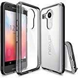 (US) Nexus 5X Case, Ringke [Fusion] Clear PC Back TPU Bumper w/ Screen Protector [Drop Protection/Shock Absorption Technology][Attached Dust Cap] For LG Google Nexus 5X - Smoke Black