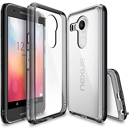 Ringke [Fusion] Compatible with Nexus 5X Case Clear PC Back TPU Bumper with Screen Protector [Drop Protection, Shock Absorption Technology][Attached Dust Cap] for LG Google Nexus 5X - Smoke Black