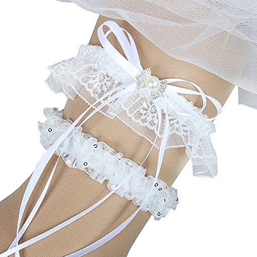 iShine Personalised Embroidered Bride Garter 1 Pair Ivory Lace Vintage White Ribbon Flower Prom Wedding Bridal Garter Belt Set with (Personalised Ribbon)
