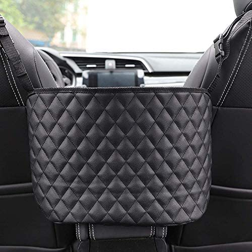 HENGBANG Car Seat Storage and Handbag Holding Net Car Net Pocket Handbag Holder Hanging Storage Bag Between Car Seats (Black)