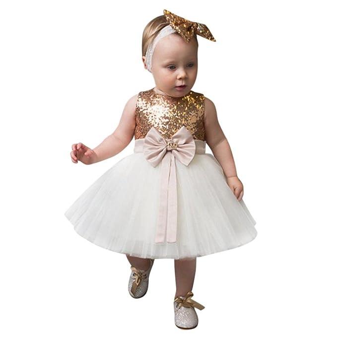 2PCS Vestido+diadema Conjuntos para bebé niña,Yannerr recien nacido Novia Tul tutú fiesta