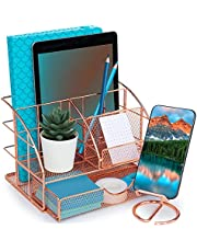 $29 » Hudstill Cute Rose Gold Desk Organizer with Matching Cellphone Stand Holder For Desk - Rose Gold Desk Organizer Caddy Includes 5 Compartments and One Large Drawer for Office Stationary and Accessories