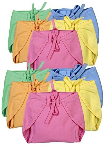 Chinmay Kids Baby Langot Cloth Diapers Nappies Soft Hoisery Cotton V Assorted Colours   Pack of 10
