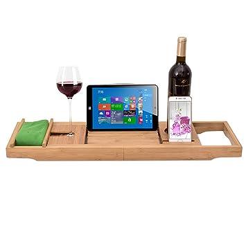 LANN Carrito de bañera de lujo - Bandeja de baño de madera de bambú extensible con libro ajustable, iPad ...