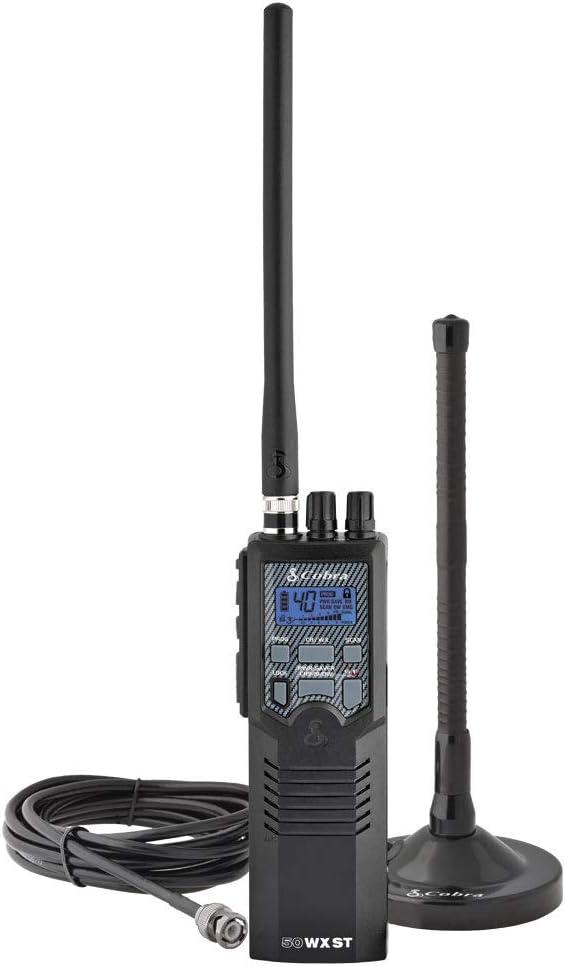 Cobra HHRT50 Road Trip Cb Radio - Emergency Radio, Travel Essentials, 2-Way Handheld Black Radio with Rooftop Magnet Mount Antenna, NOAA Channels, Dual Watch & 40 Channel Access