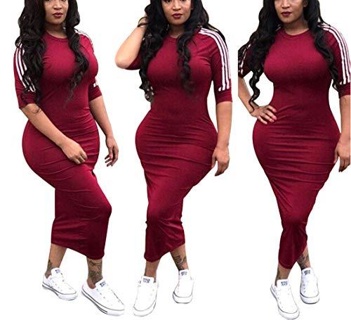 ECHOINE Women's Casual Bodycon Dress Half Sleeve Pencil Midi Party Clubwear Plus Size Red XXL -