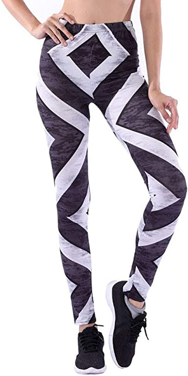 Pantalones Yoga Mujeres Impresión Rayas Blancas y Negras, Mallas ...