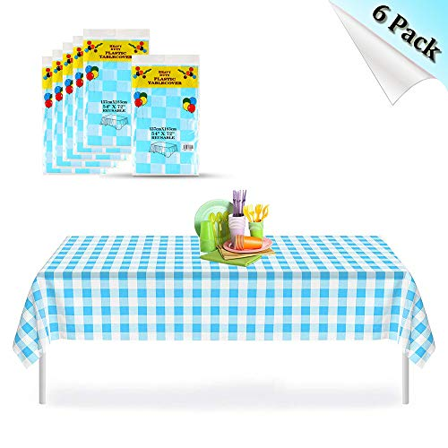 (Blue Gingham Checkered 6 Pack Premium Disposable Plastic Picnic Tablecloth 54 Inch. x 72 Inch. Rectangle Table Cover, Indoor or Outdoor Parties Birthdays Weddings Christmas)