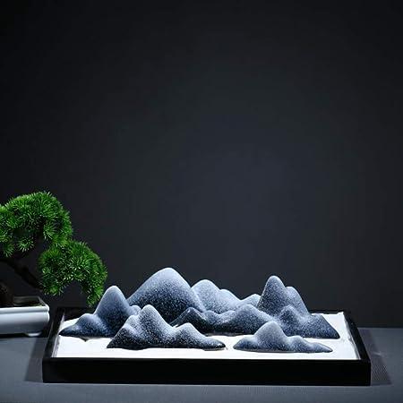 Hjyi Meditación Zen Garden,Jardin Zen Adornos De Piedra China Taiwán De Piedra Cerámica Decoración De Arte Zen Paisaje Seco Accesorios De Salón De Té: Amazon.es: Hogar