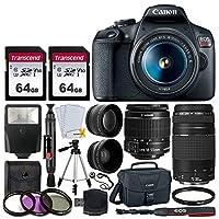 Canon EOS Rebel T7 DSLR Camera + EF-S 18-55mm f/3.5-5.6 is II + EF 75-300mm f/4-5.6 III Lens + Canon EOS Shoulder Bag + 2X 64GB Memory Card + 58mm Wide Angle & Telephoto Lens + Slave Flash + Tripod