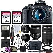 Canon EOS Rebel T7 DSLR Camera + EF-S 18-55mm f/3.5-5.6 is II + EF 75-300mm f/4-5.6 III Lens + Canon EOS Shoul