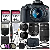 Canon EOS Rebel T7 DSLR Camera + EF-S 18-55mm f/3.5-5.6 is II + EF 75-300mm f/4-5.6 III Lens + Canon EOS Shoulder Bag + 2X 64GB Memory Card + 58mm Wide Angle & Telephoto Lens + Slave Flash + Tripod