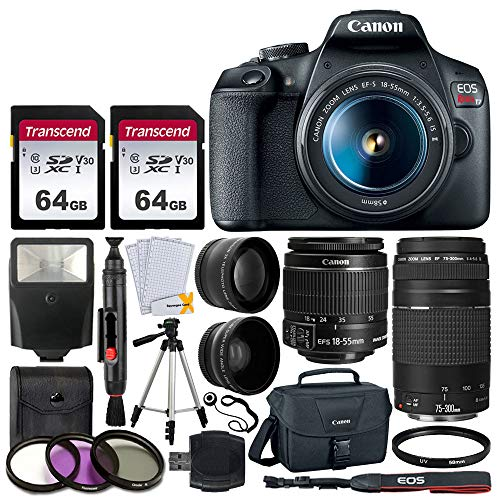 Canon EOS Rebel T7 DSLR Camera + EF-S 18-55mm f/3.5-5.6 is II + EF 75-300mm f/4-5.6 III Lens + Canon EOS Shoulder Bag + 2X 64GB Memory Card + 58mm Wide Angle & Telephoto Lens + Slave Flash + Tripod (Best Entry Level Dslr For Beginners)