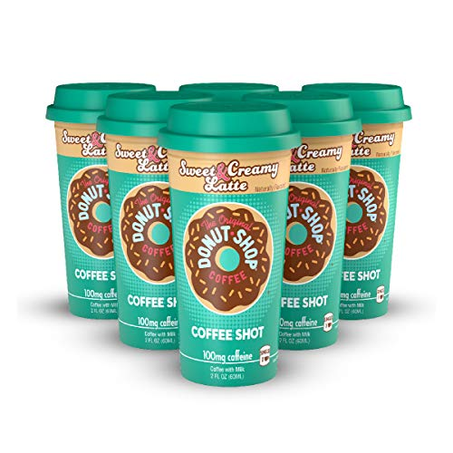 Donut Shop Coffee Shots - 100mg Caffeine, Sweet & Creamy Latte, Tasty coffee energy boost in a ready-to-drink 2-ounce shot, 6 pack ()