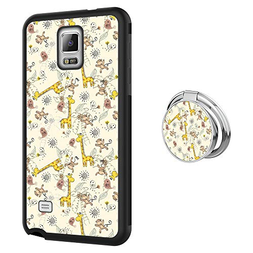 Hynina Phone Case and Phone Ring Buckle Compatible for Samsung Galaxy Note 4 - Giraffe and Monkey