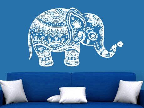 CreativeWallDecals Wall Decal Vinyl Sticker Decals Art Decor Design Mural Baby Elephant Ganesga Mandala Tribal Buddha Karma India Dorm Bedroom Dorm (r1098)