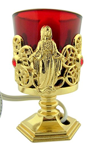 dtc Gold Tone Metal Immaculate Heart Mary Electric Votive Stand, 4 1/4 Inch