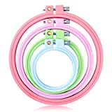 4 plastic embroidery hoop - Caydo 4 Pieces Unique Design Embroidery Hoops ABS Plastic Candy Colors Cross Stitch Hoop Small Teaching Set for Kids, 2.8 inch to 5.9 inch