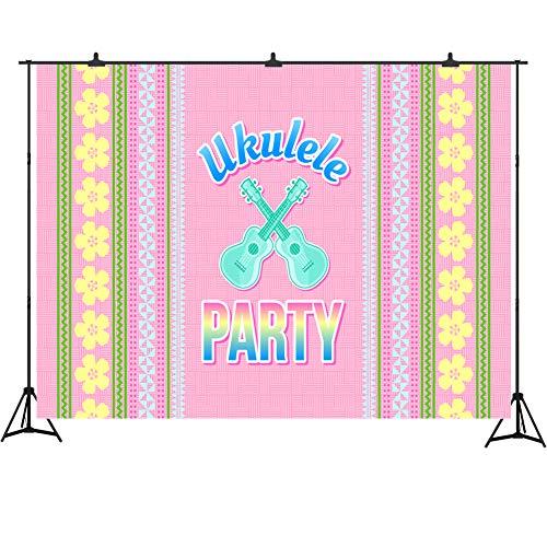 - Ukulele Party Decoration 7X5FT Polynesian Style Hawaiian Background Traditional Folk Ornaments Photography Backdrop Studio Props Cake Table Banner