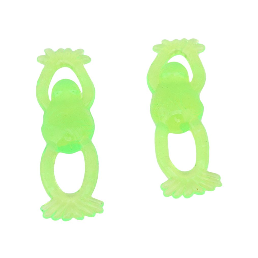 Edtoy 10PCS Green Stretchable Flying Slingshot Frogs Toy for Kids,Boys And Girls Great Party Favors Fun Toy