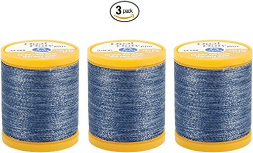 Coats & Clark Inc. Dual Duty Plus Denim Thread, 125-Yard, Denim Blue (3) (Cotton Denim Fabric)