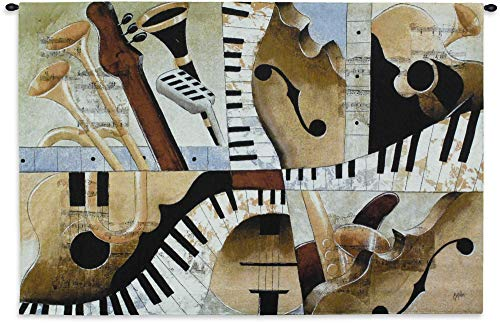 Jazz Medley I by Tom Grijalva | Woven Tapestry Wall Art Hanging | Instrumental Abstract Panel Art | 100% Cotton USA Size 52x35 ()