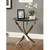 Coaster Home Furnishings  Modern Contemporary Round Clear Tempered Glass End Table - Chrome