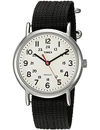 Timex Weekender Cream/Black Nylon Slip-Thru Strap Watch