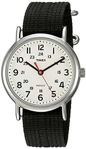 Timex Unisex TWC027600 Weekender Cream/Black Nylon Slip-Thru Strap Watch